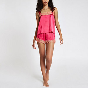 Pink lace cami pyjama top