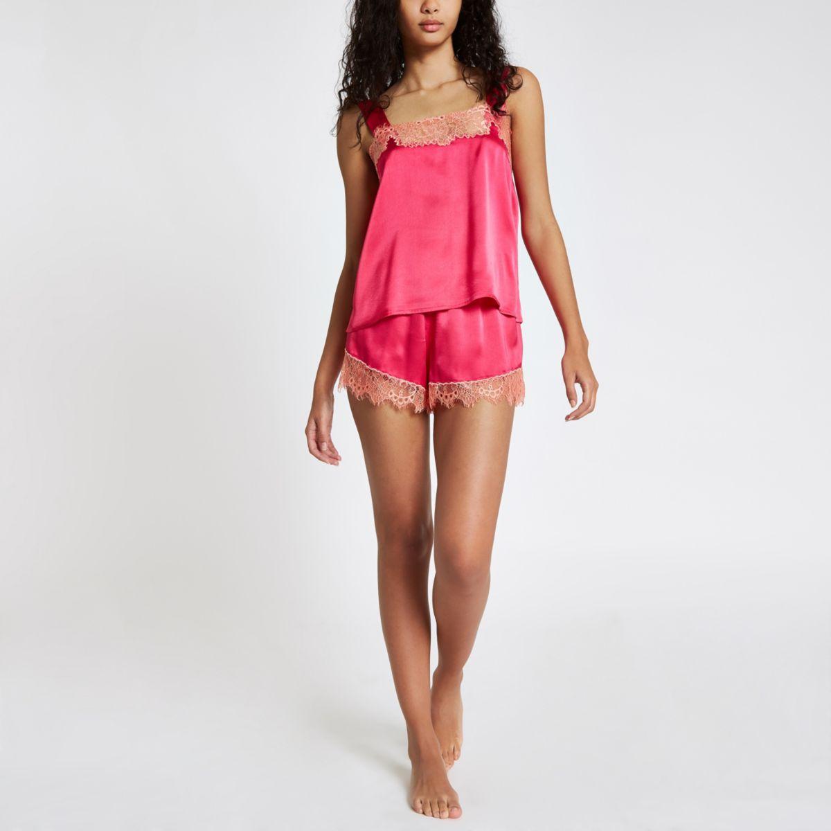 Pink lace cami pyjama top