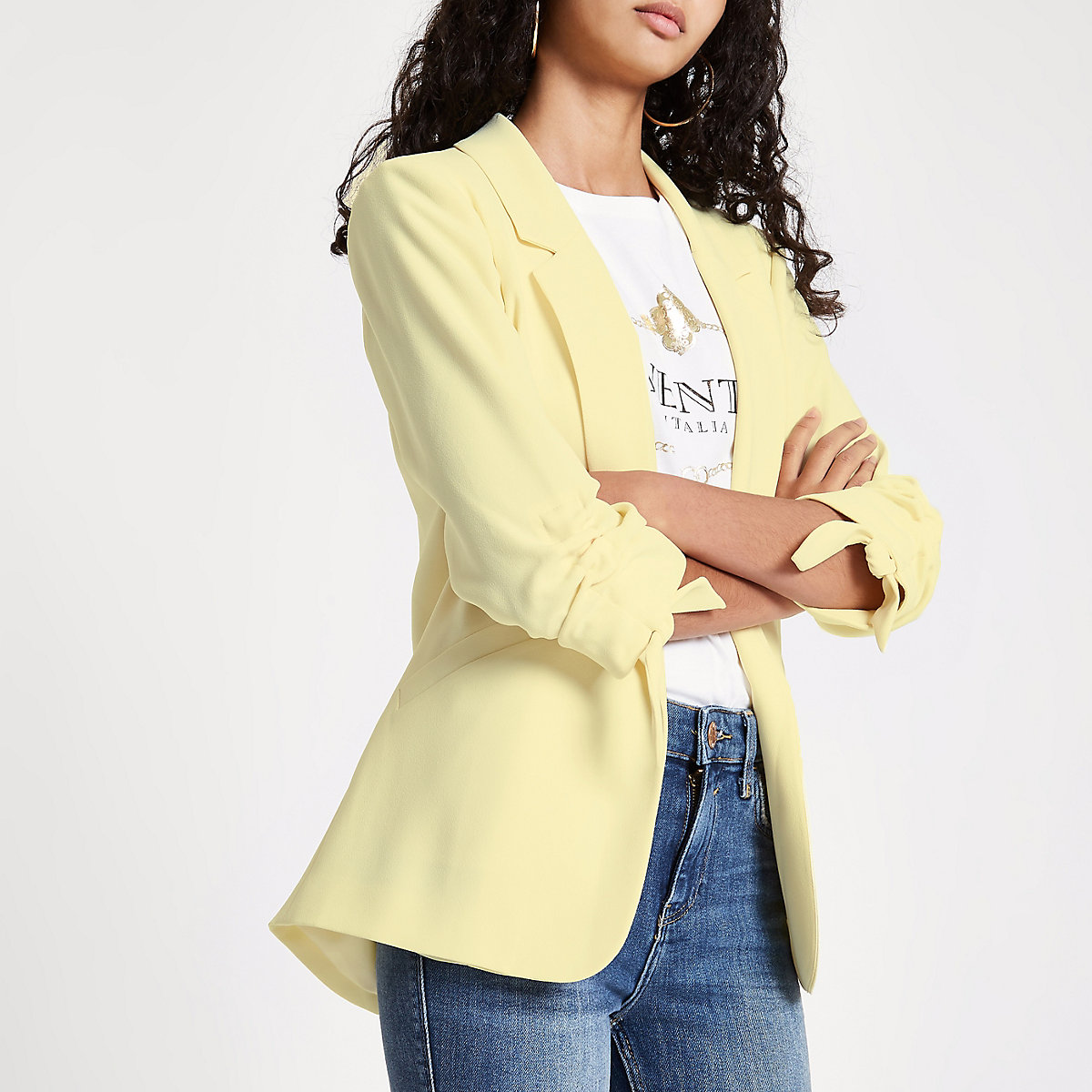 Light yellow ruched sleeve blazer