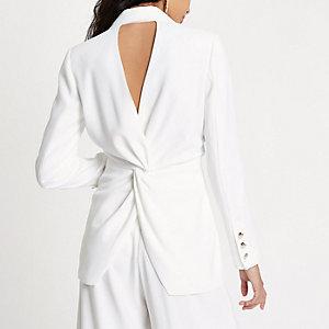 White fitted twist back blazer