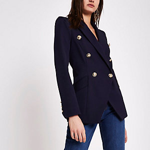 Navy double breasted tux jacket
