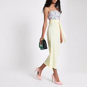 Yellow paperbag waist culottes