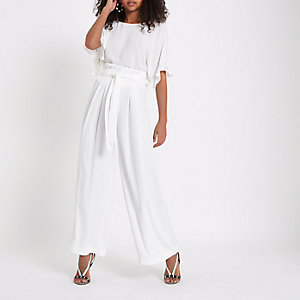 White paperbag waist wide leg pants