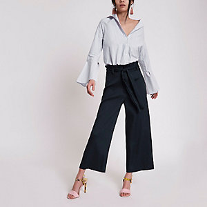 Navy paperbag waist culottes