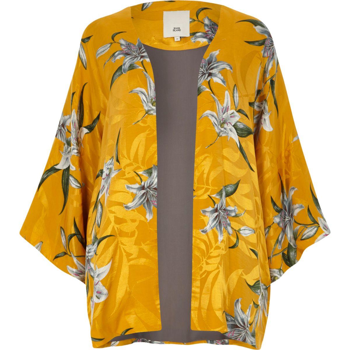 Yellow Jacquard Floral Print Kimono                                  Yellow Jacquard Floral Print Kimono                                    Yellow Frill Hem Floral Print Shorts                                    Yellow Frill Hem Floral Print Shorts    ... by River Island