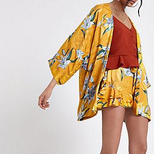 Gele jacquard kimono met bloemenprint