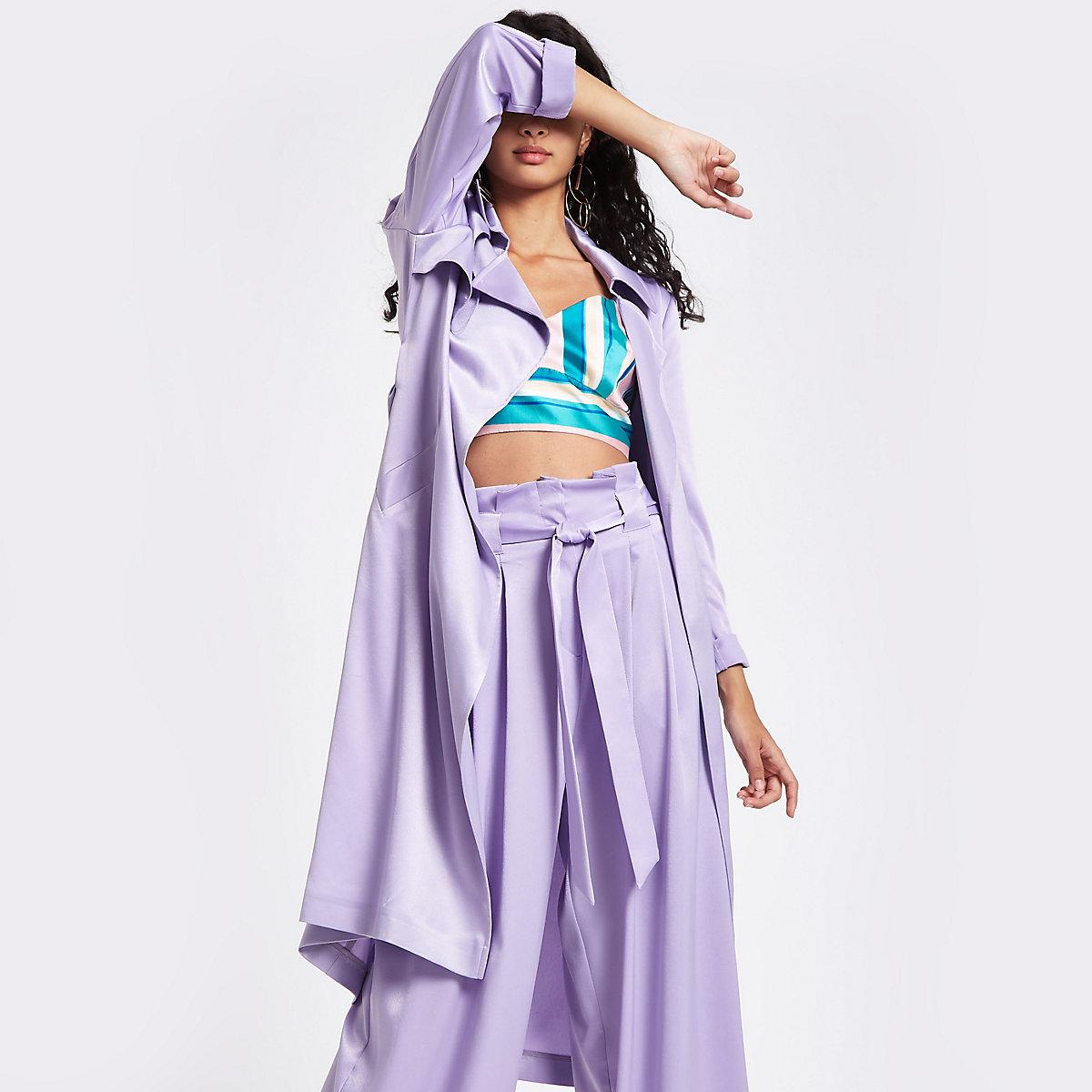 Light purple satin tie waist trench coat