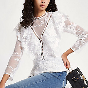 White lace long sleeve frill top
