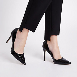Black patent croc court shoes