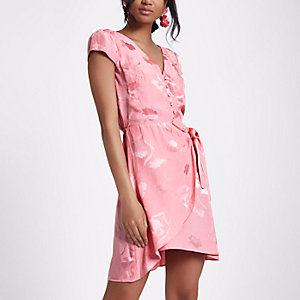 Pink jacquard button front midi dress