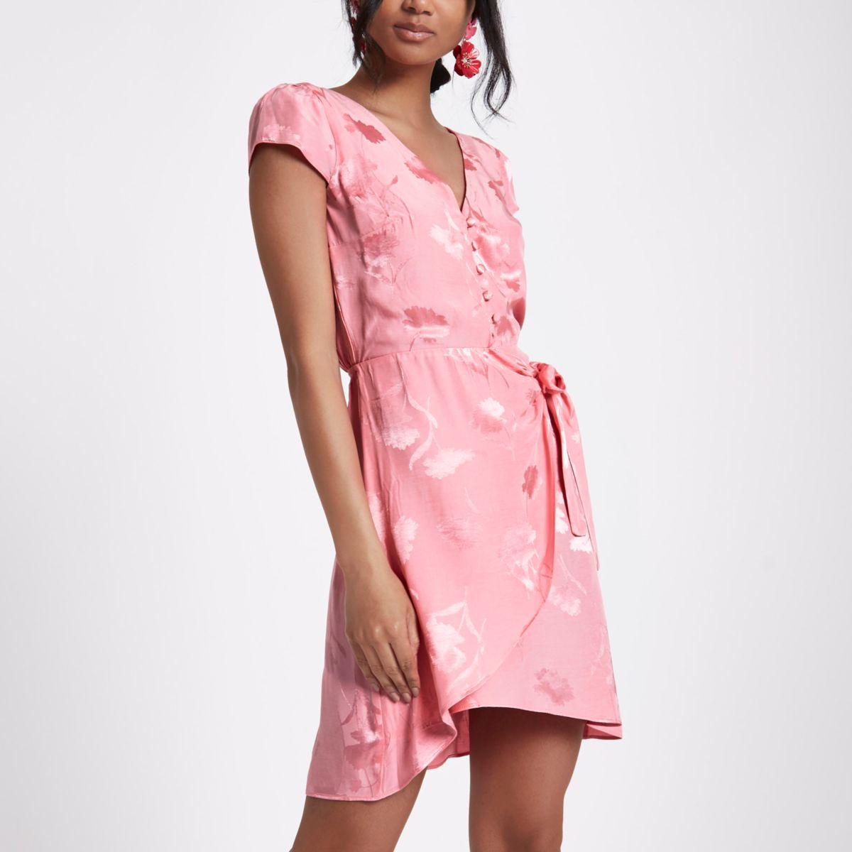 Pink jacquard button front midi dress