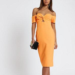 Orange knot front bardot bodycon midi dress