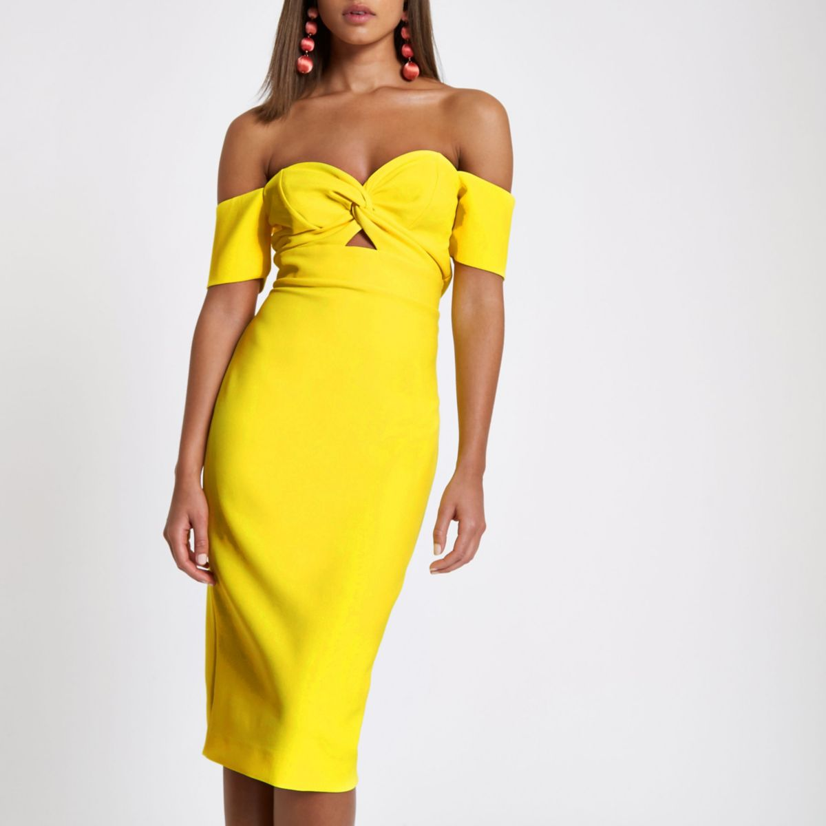 Yellow knot front bardot bodycon dress