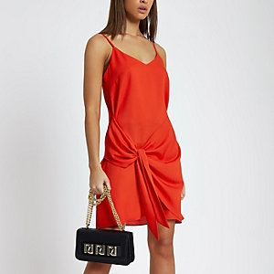 Red wrap tie front mini slip dress