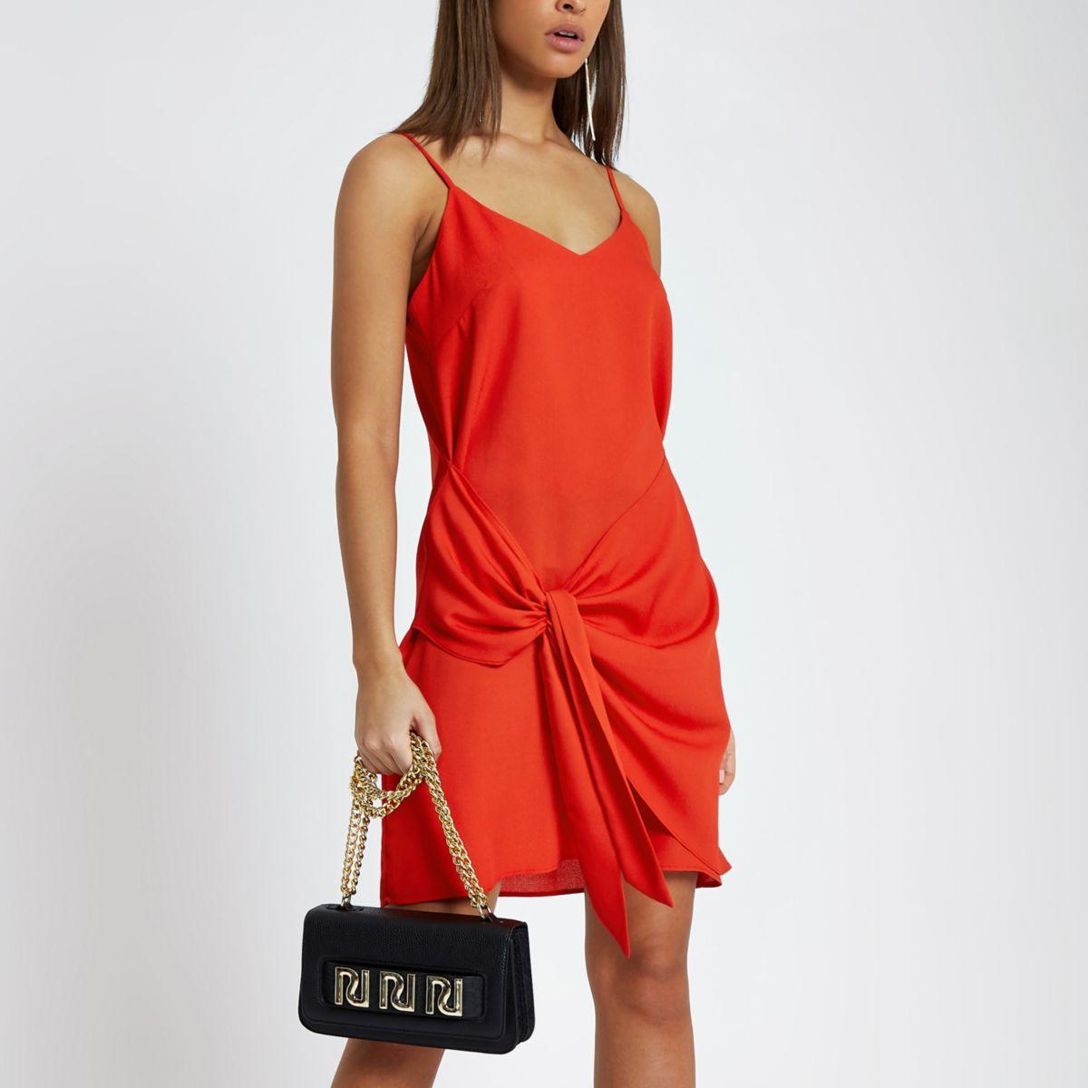 Red wrap tie front mini slip dress