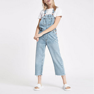 Petite light blue denim dungarees