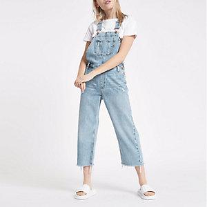 Petite – Salopette en jean bleu clair