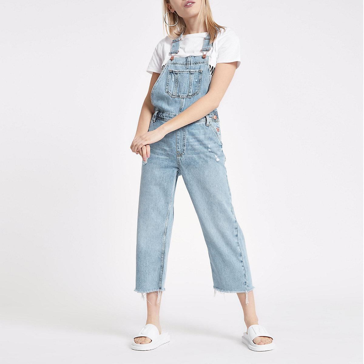 Petite light blue denim overalls
