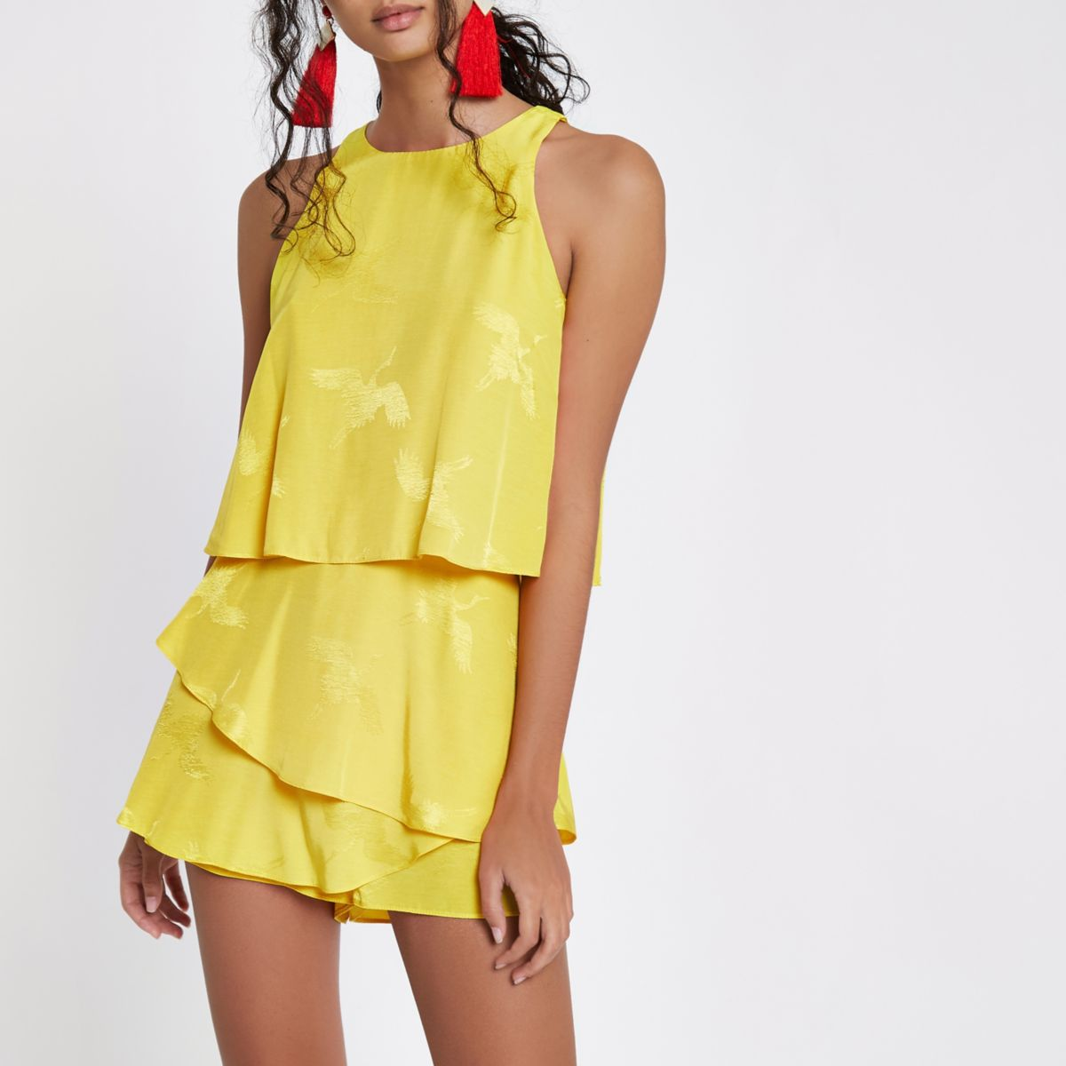 Yellow tiered frill jacquard romper