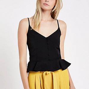 Black peplum hem cami top