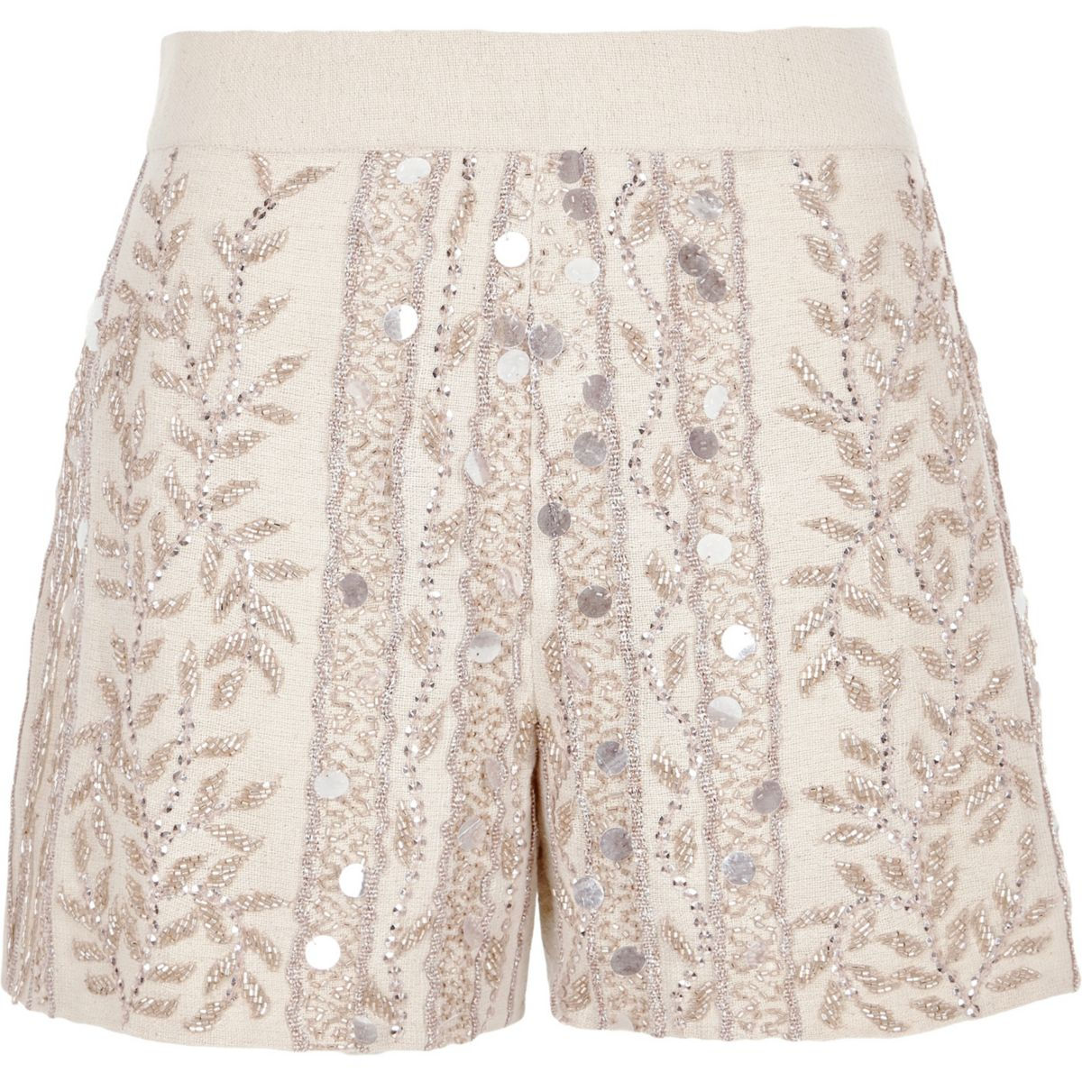 Cream Bead Embellished Shorts by River Island