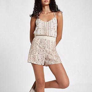 Cream bead embellished shorts