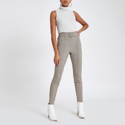 Brown Check High Waisted Skinny Trousers by River Island