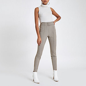 Pantalon ajusté à carreaux gris taille haute