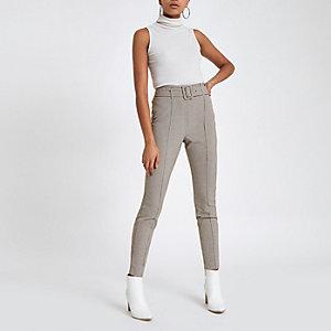 Grijze geruite aansluitende broek met hoge taille
