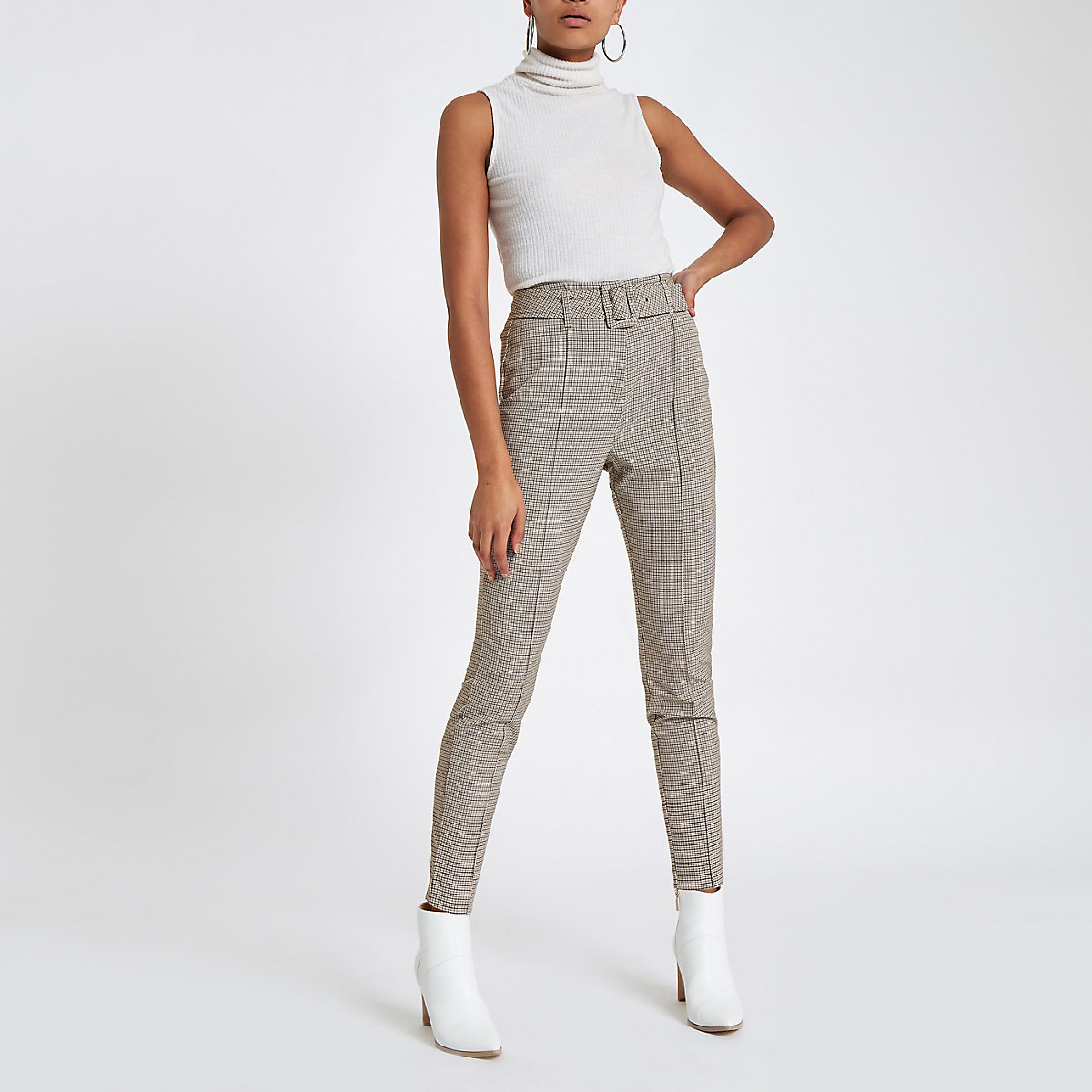 Brown check high waisted skinny trousers