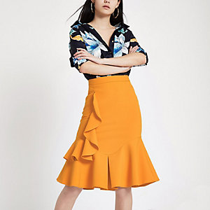 Orange midi frill skirt