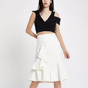 White midi frill skirt