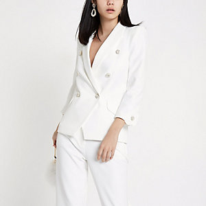 White faux pearl double breasted blazer