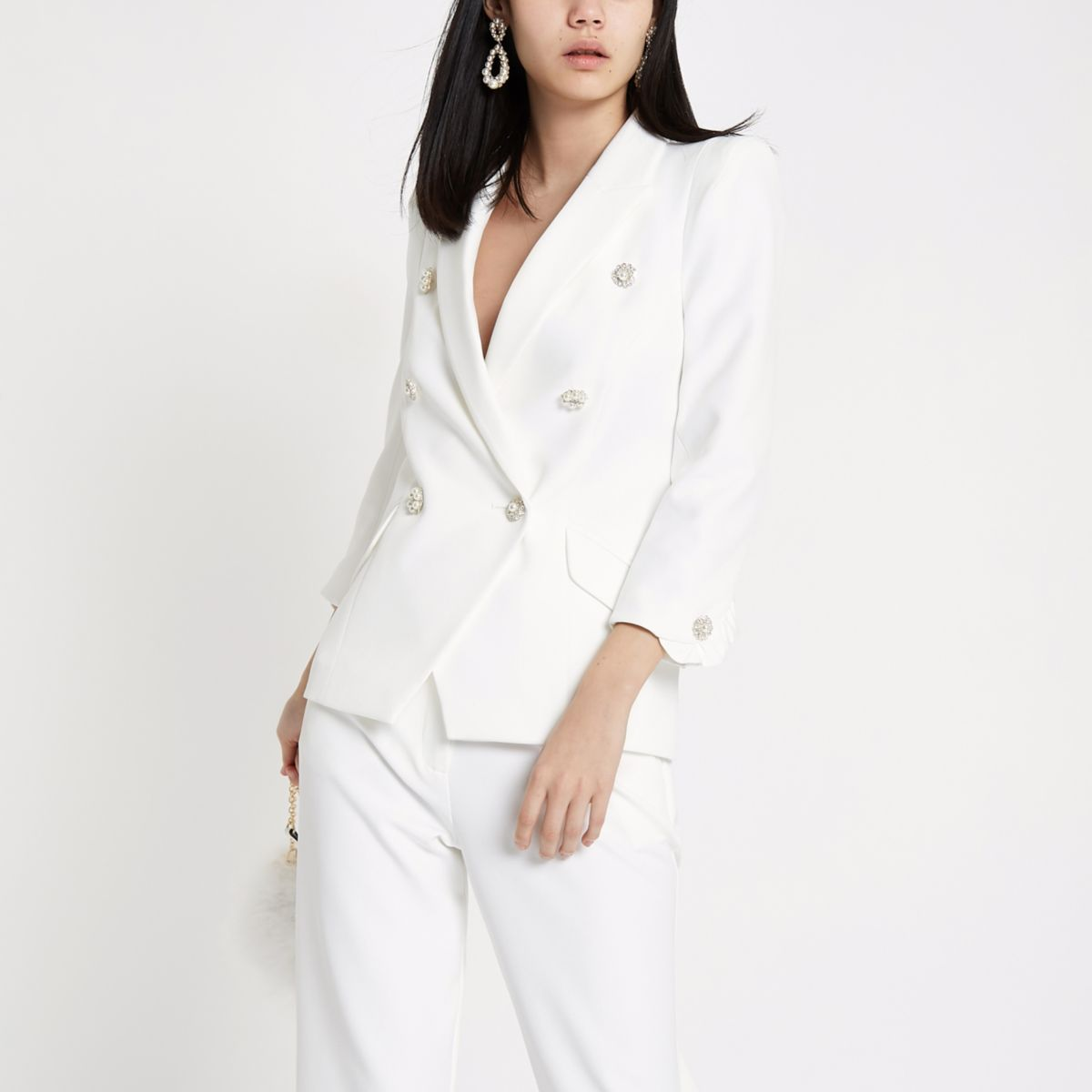 Ivory faux pearl double breasted blazer