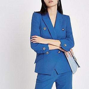 Felblauwe double-breasted blazer met imitatiepareltjes