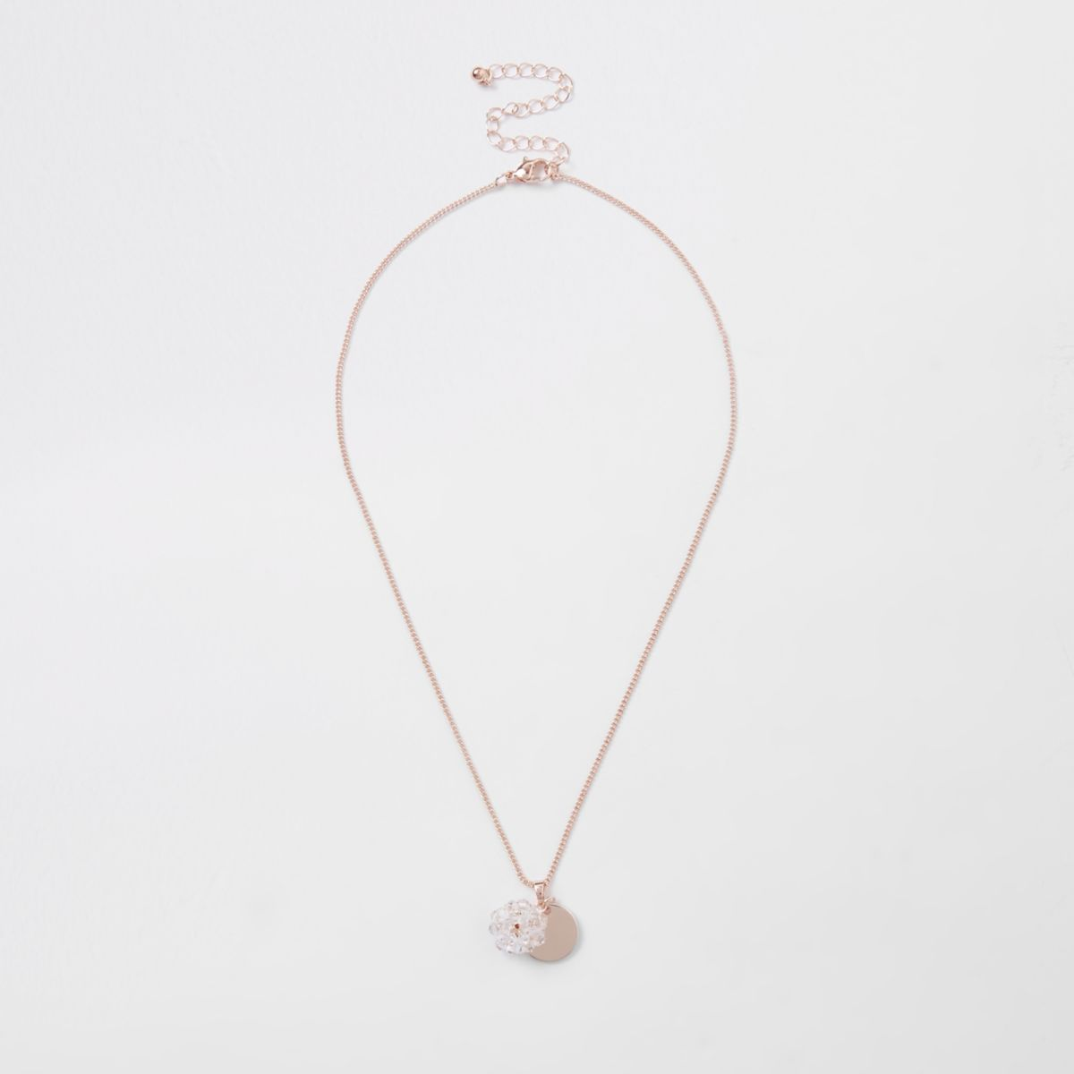 Rose gold faceted coin and bead necklace