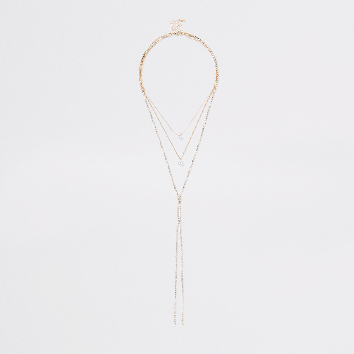 Gold tone layered plunge necklace