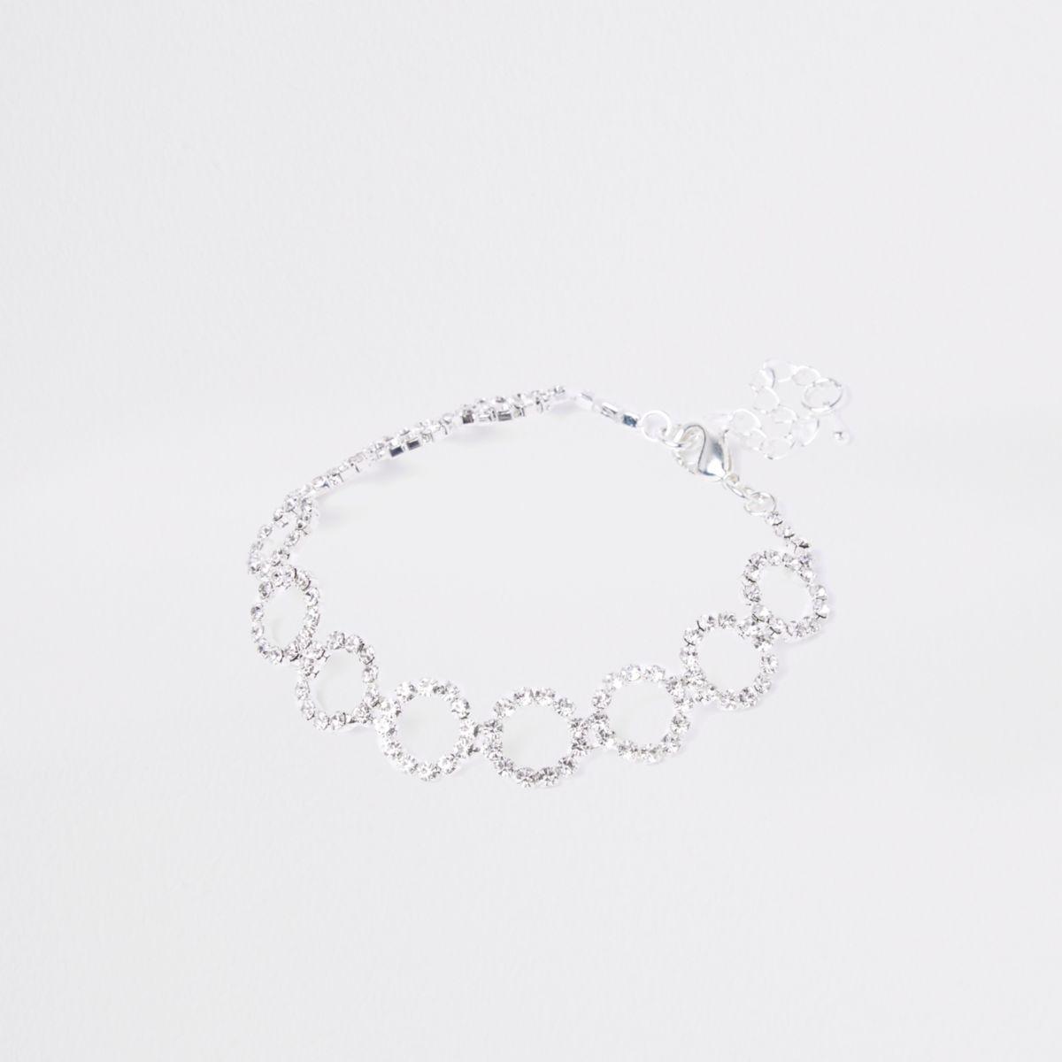 Silver tone rhinestone circle bracelet