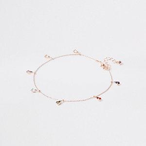 Bracelet de cheville façon or rose avec pierre
