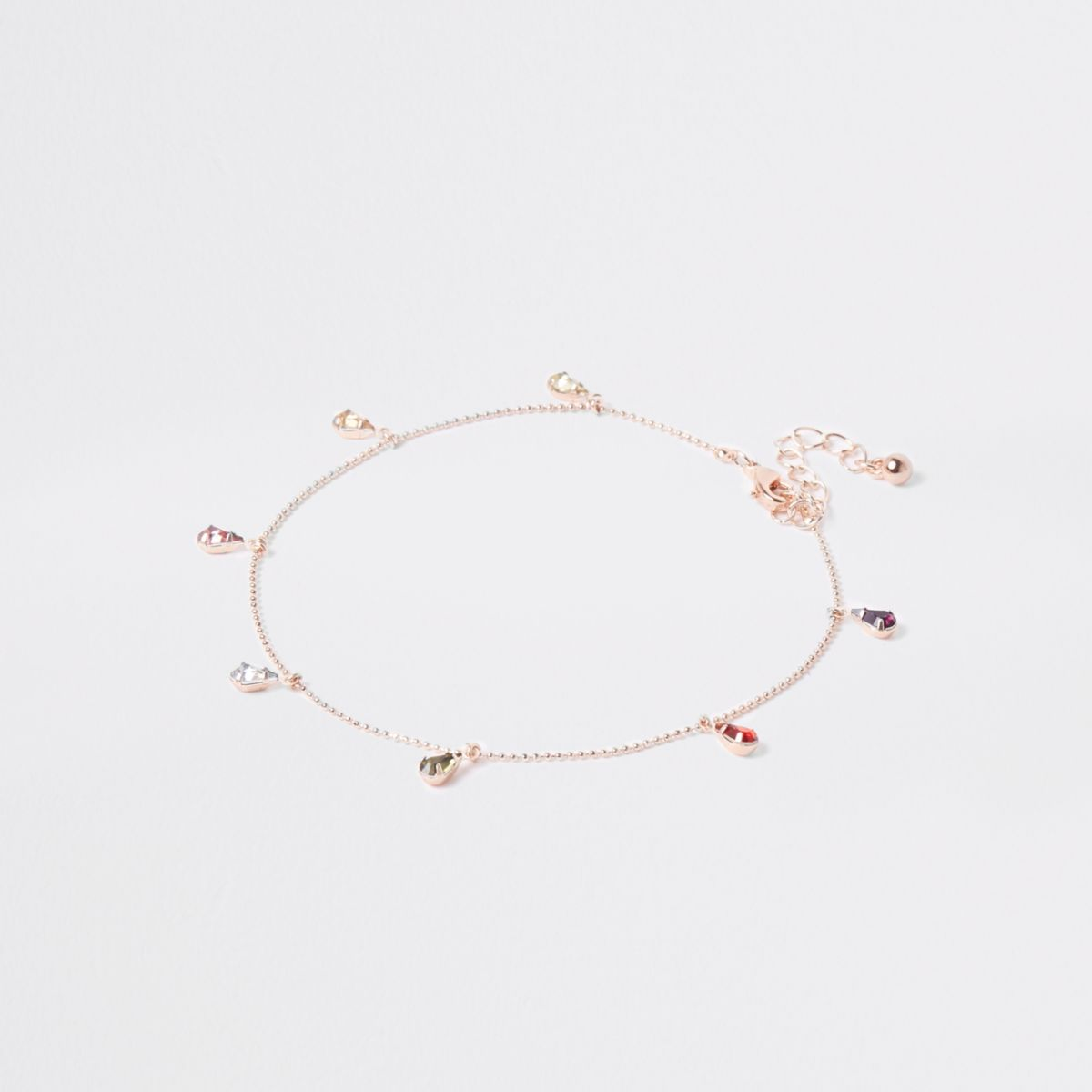 Rose gold tone drop stone anklet