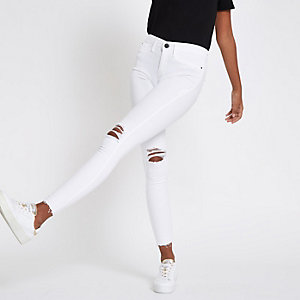 Molly - Witte ripped jegging met halfhoge taille
