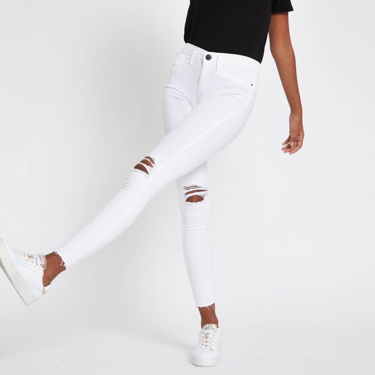 White Molly Mid Rise Ripped Jeggings by River Island