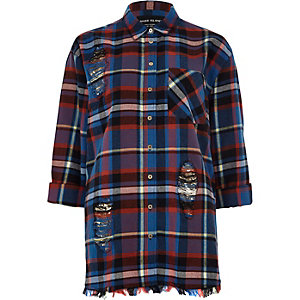 Blue long sleeve check raw hem shirt