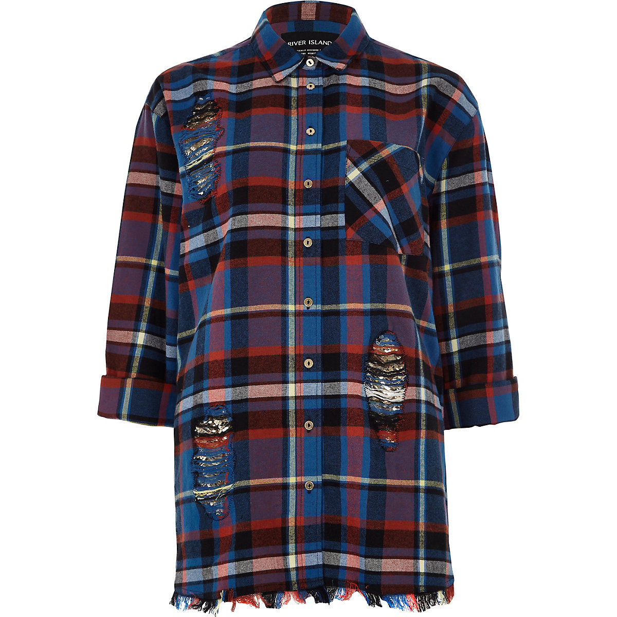 Blue long sleeve check raw hem shirt