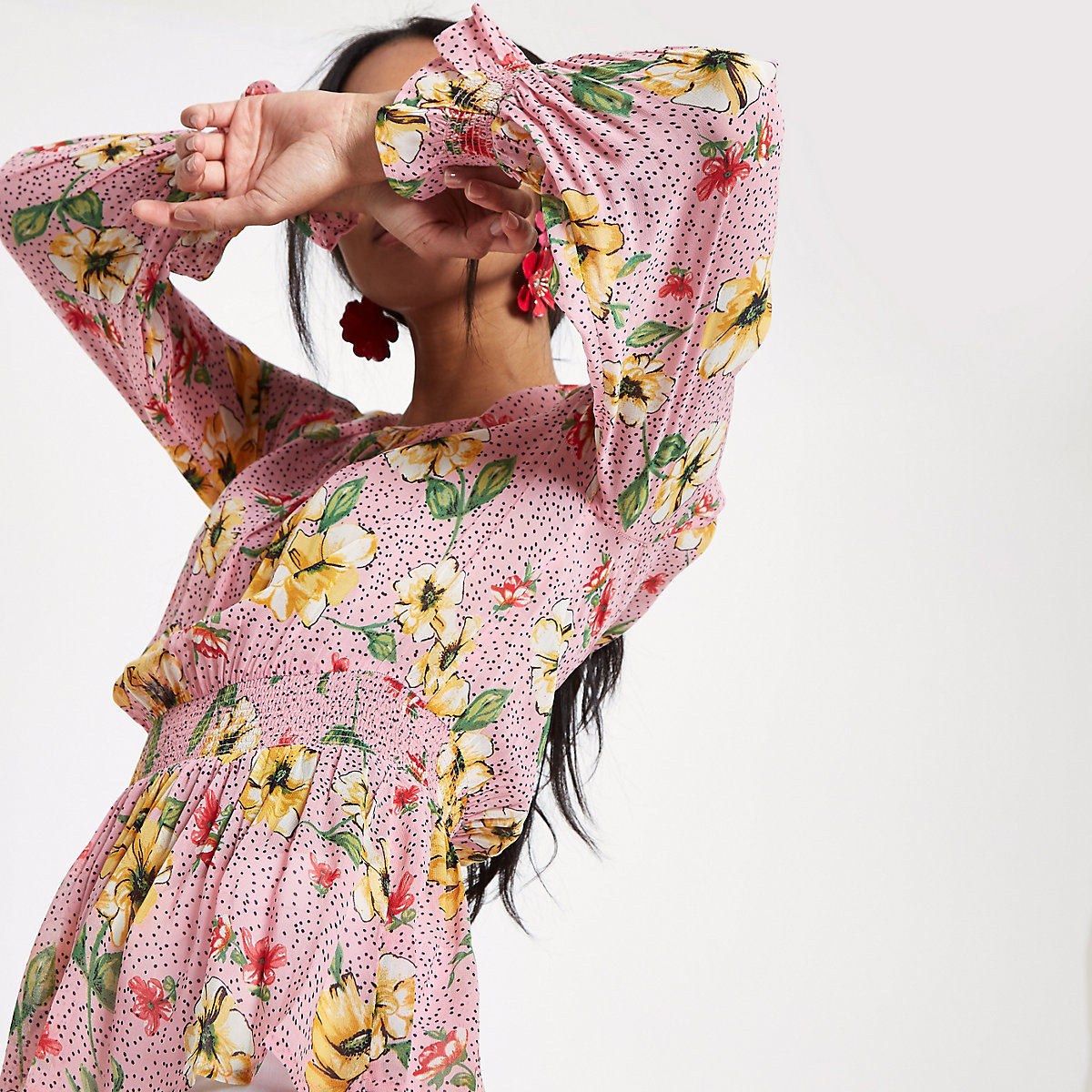Pink floral shirred waist long sleeve top
