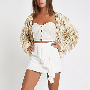 White frill denim skort