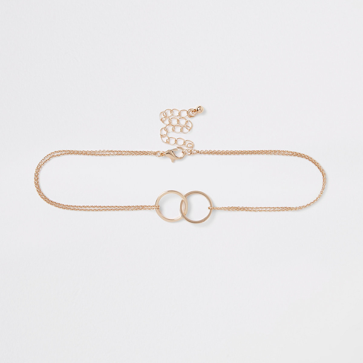 Gold tone chain interlink circle choker