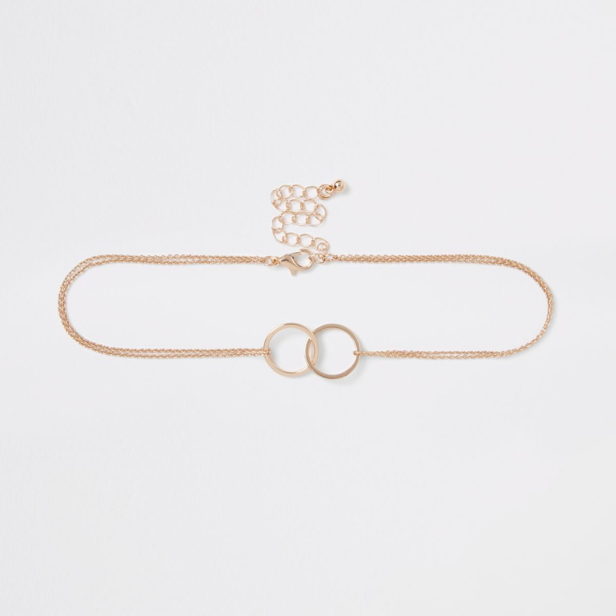 Gold tone chain interlink circle choker