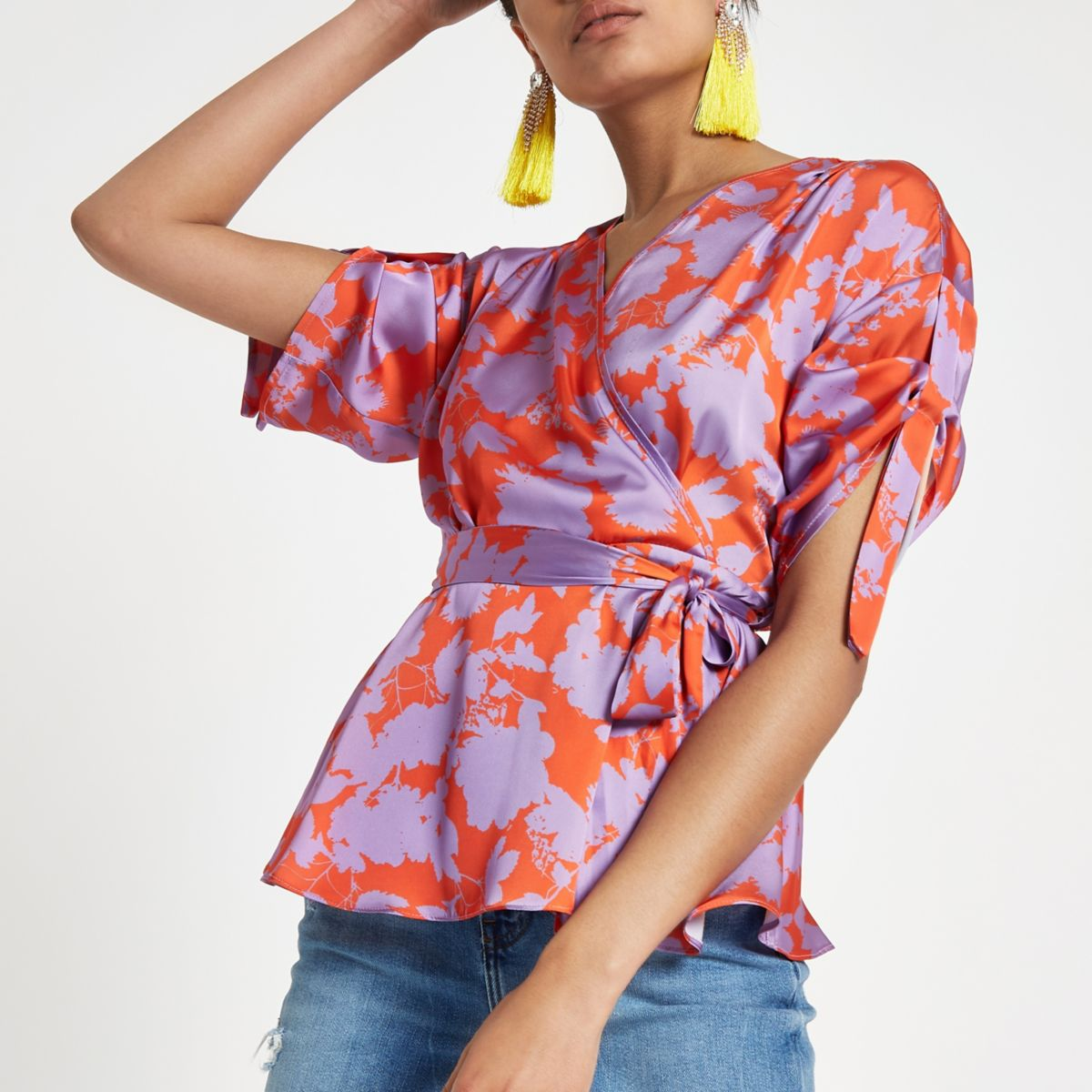 Purple floral wrap side ruched sleeve top
