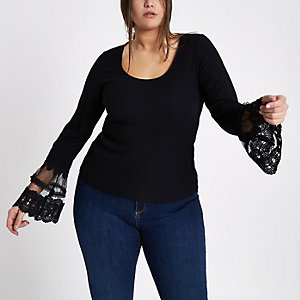Plus black ribbed lace long sleeve top